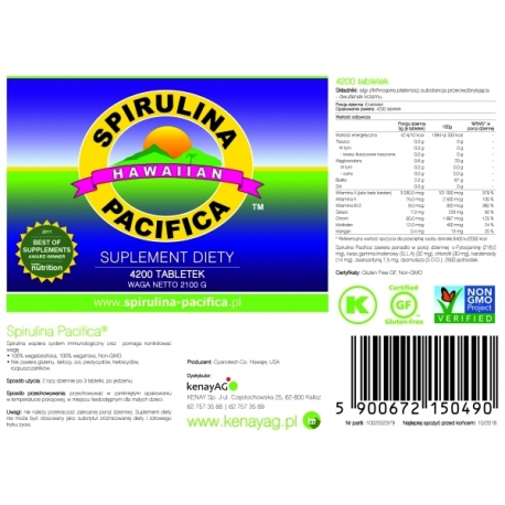 SPIRULINA HAWAJSKA PACIFICA®  KENAY 500 MG 4200 TABLETEK