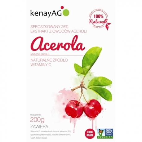 ACEROLA 25% -  EKSTRAKT Z ACEROLI  KENAY (PROSZEK) - 200 GRAM